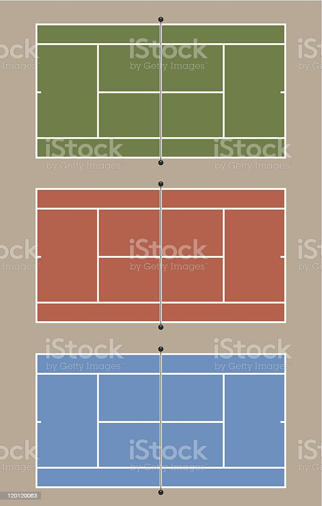 Graphic of three differently colored tennis courts vector art illustration