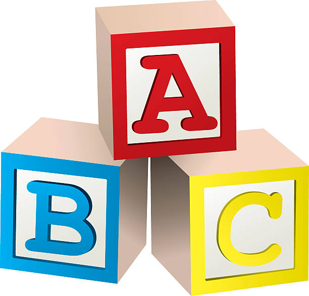 graphic of three stacked abc blocks - blocks stock illustrations, clip art, cartoons, & icons