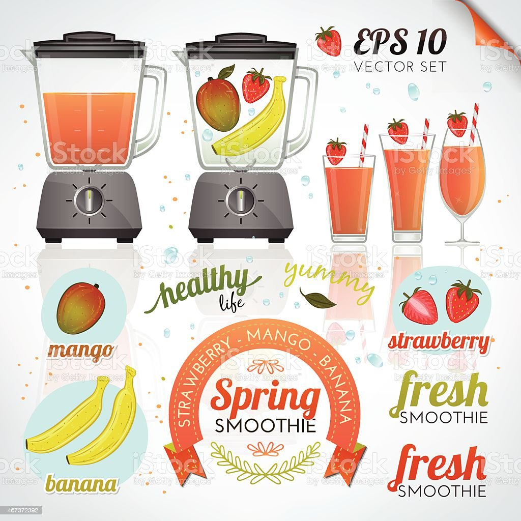 Graphic of tropical fruit smoothie promotional images vector art illustration