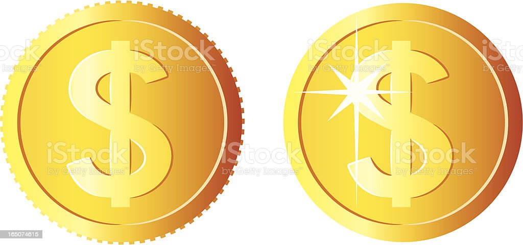 Graphic of two gold shiny coins vector art illustration