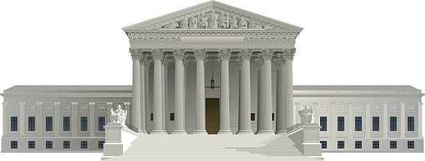 graphic of us supreme court building on white background - supreme court 幅插畫檔、美工圖案、卡通及圖標