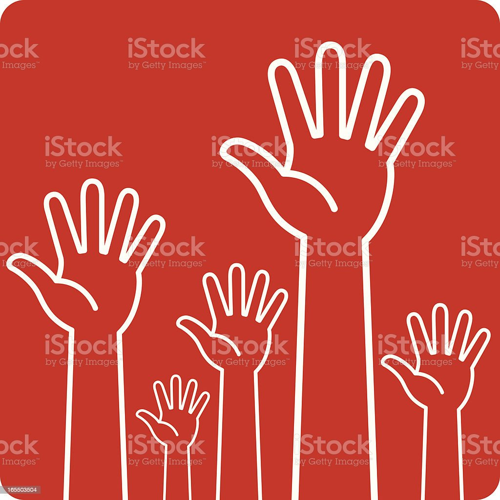 Graphic of white outlined hands raised on a red background royalty-free stock vector art