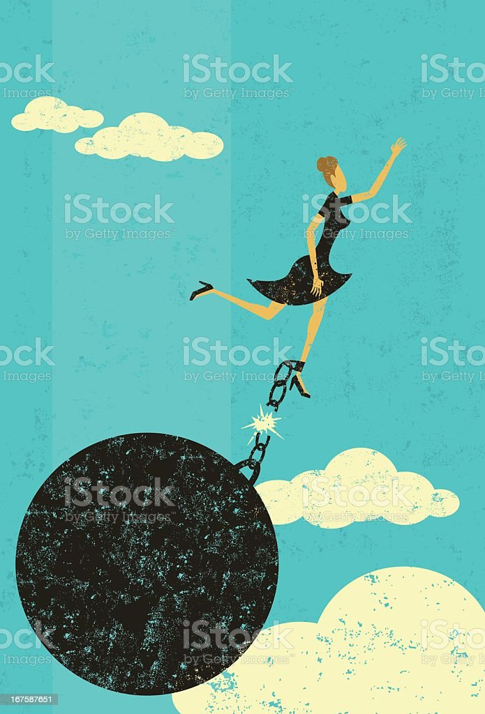 Graphic of woman in the sky breaking free from ball & chain vector art illustration