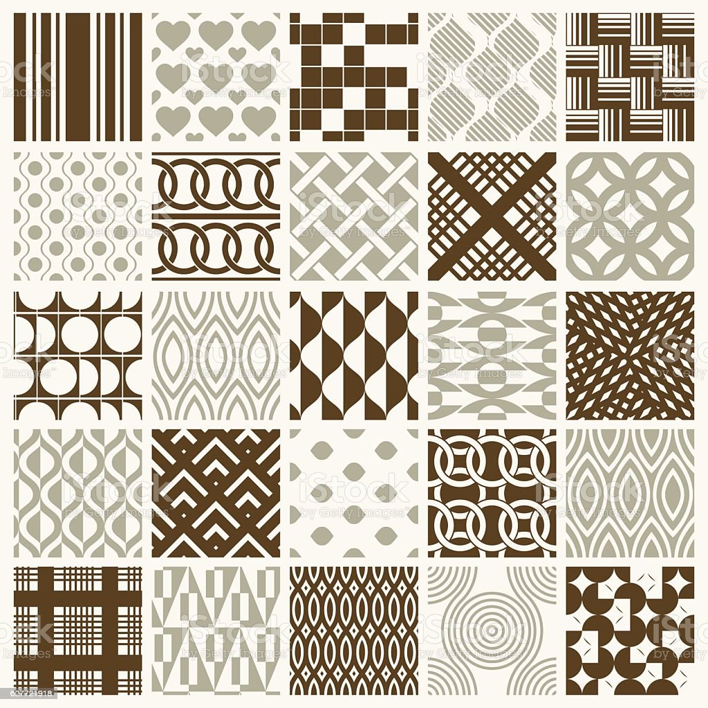 Graphic ornamental tiles collection, set of vector repeated patt vector art illustration