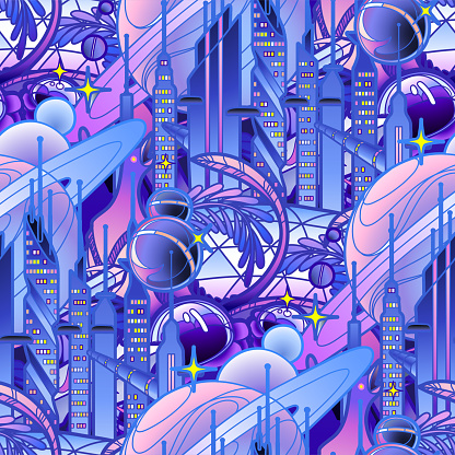 Graphic pattern of futuristic city