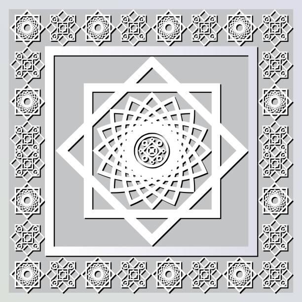 stockillustraties, clipart, cartoons en iconen met grafisch patroon met een bas-reliëf van ramadan 1 - stickers met relief