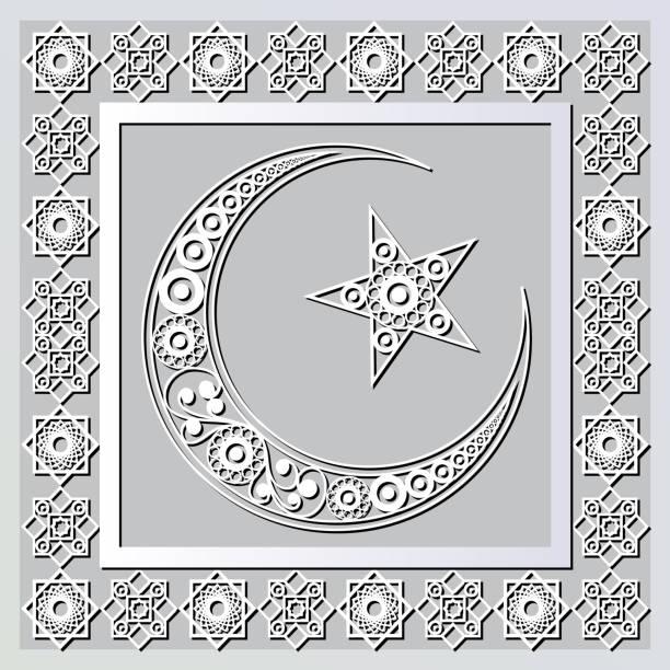 stockillustraties, clipart, cartoons en iconen met grafisch patroon met een bas-reliëf van ramadan 10 - stickers met relief