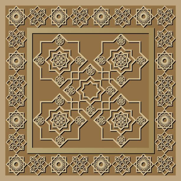 stockillustraties, clipart, cartoons en iconen met grafisch patroon met een bas-reliëf van ramadan 11 - stickers met relief