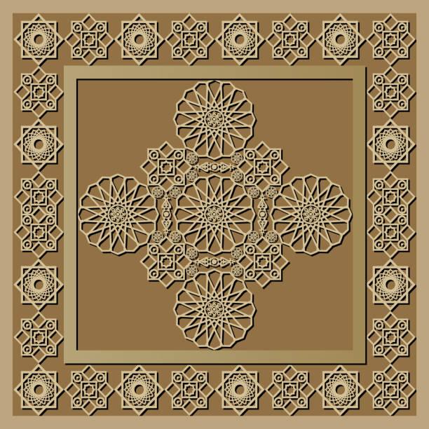 stockillustraties, clipart, cartoons en iconen met grafisch patroon met een bas-reliëf van ramadan 12 - stickers met relief