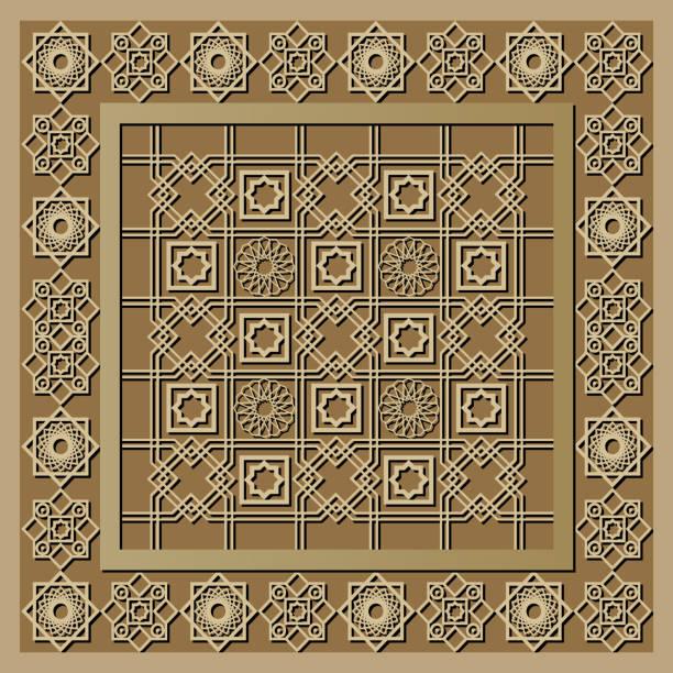 stockillustraties, clipart, cartoons en iconen met grafisch patroon met een bas-reliëf van ramadan 14 - stickers met relief