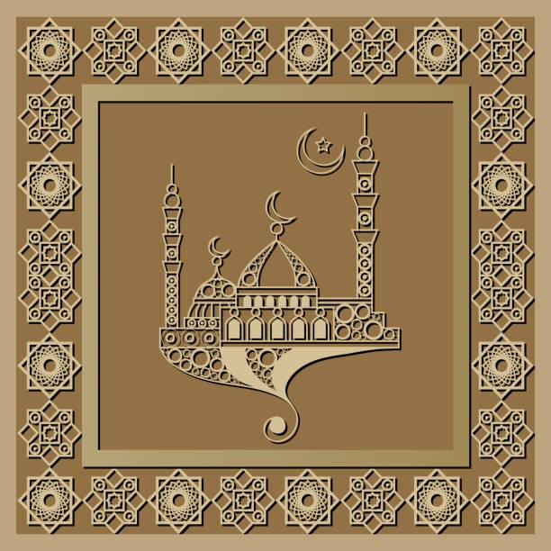 stockillustraties, clipart, cartoons en iconen met grafisch patroon met een bas-reliëf van ramadan 17 - stickers met relief