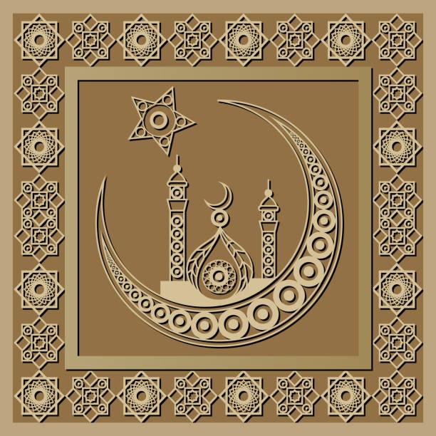 stockillustraties, clipart, cartoons en iconen met grafisch patroon met een bas-reliëf van ramadan 19 - stickers met relief