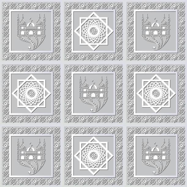 stockillustraties, clipart, cartoons en iconen met grafisch patroon met een bas-reliëf van ramadan 21 - stickers met relief
