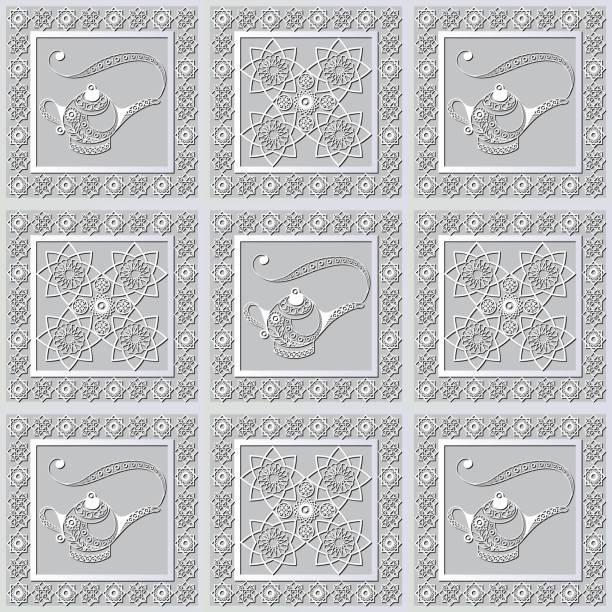 stockillustraties, clipart, cartoons en iconen met grafisch patroon met een bas-reliëf van ramadan 22 - stickers met relief
