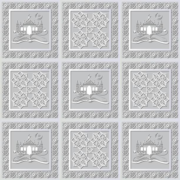 stockillustraties, clipart, cartoons en iconen met grafisch patroon met een bas-reliëf van ramadan 24 - stickers met relief