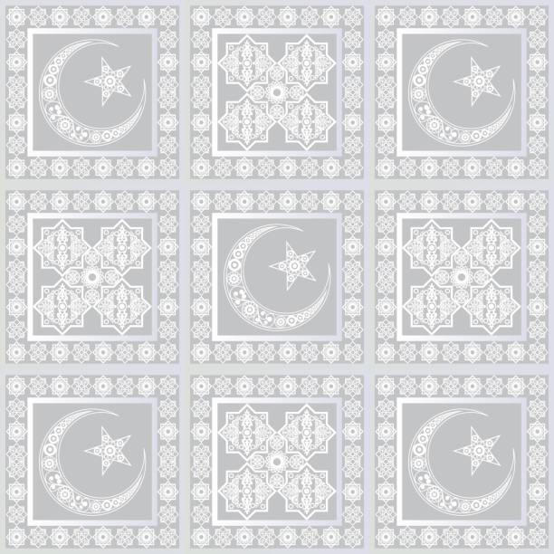 stockillustraties, clipart, cartoons en iconen met grafisch patroon met een bas-reliëf van ramadan 25 - stickers met relief