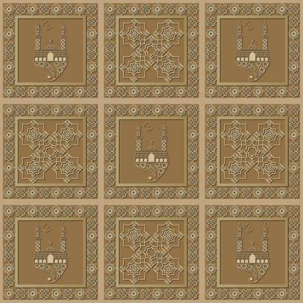 stockillustraties, clipart, cartoons en iconen met grafisch patroon met een bas-reliëf van ramadan 26 - stickers met relief