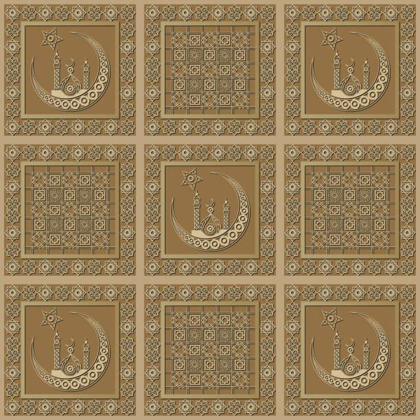 stockillustraties, clipart, cartoons en iconen met grafisch patroon met een bas-reliëf van ramadan 28 - stickers met relief