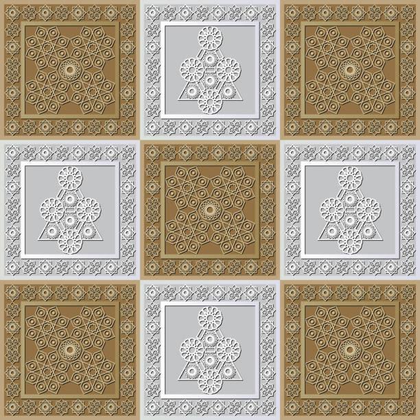 stockillustraties, clipart, cartoons en iconen met grafisch patroon met een bas-reliëf van ramadan 33 - stickers met relief