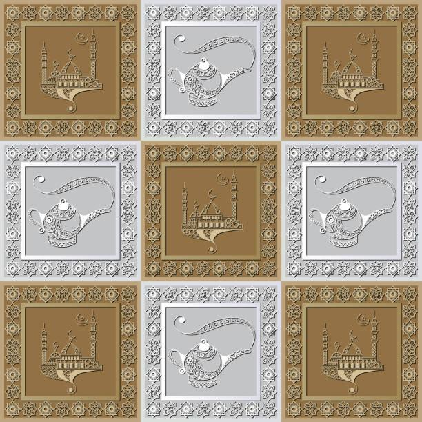 stockillustraties, clipart, cartoons en iconen met grafisch patroon met een bas-reliëf van ramadan 37 - stickers met relief