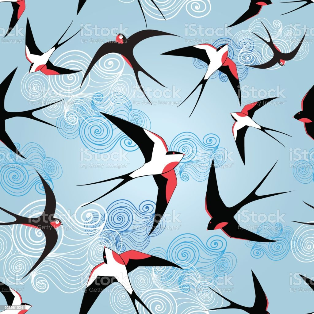 Graphic pattern with swallows royalty-free graphic pattern with swallows stock vector art & more images of animal body part