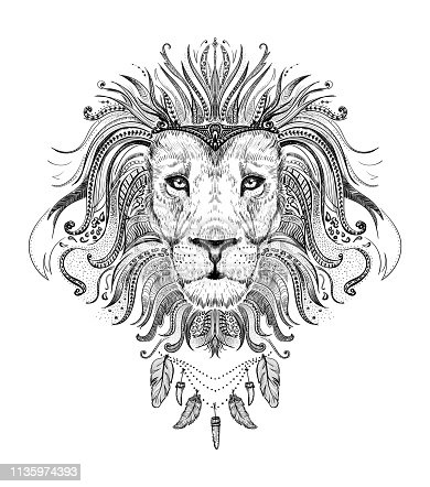 istock Graphic poster with lion king dressed in boho style feathers nec 1135974393