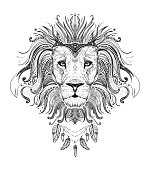 Graphic poster with lion king dressed in boho style feathers nec