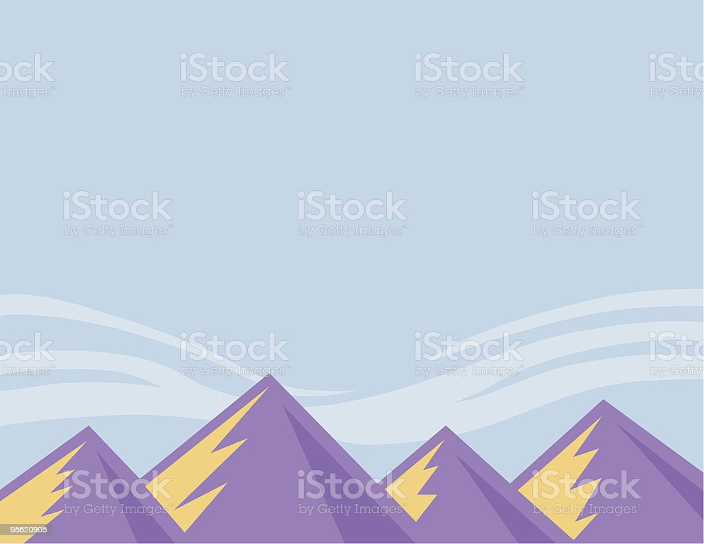 Graphic Purple Mountains royalty-free stock vector art