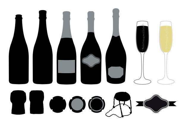 bildbanksillustrationer, clip art samt tecknat material och ikoner med grafisk resurs för mousserande vin mönster - flaska