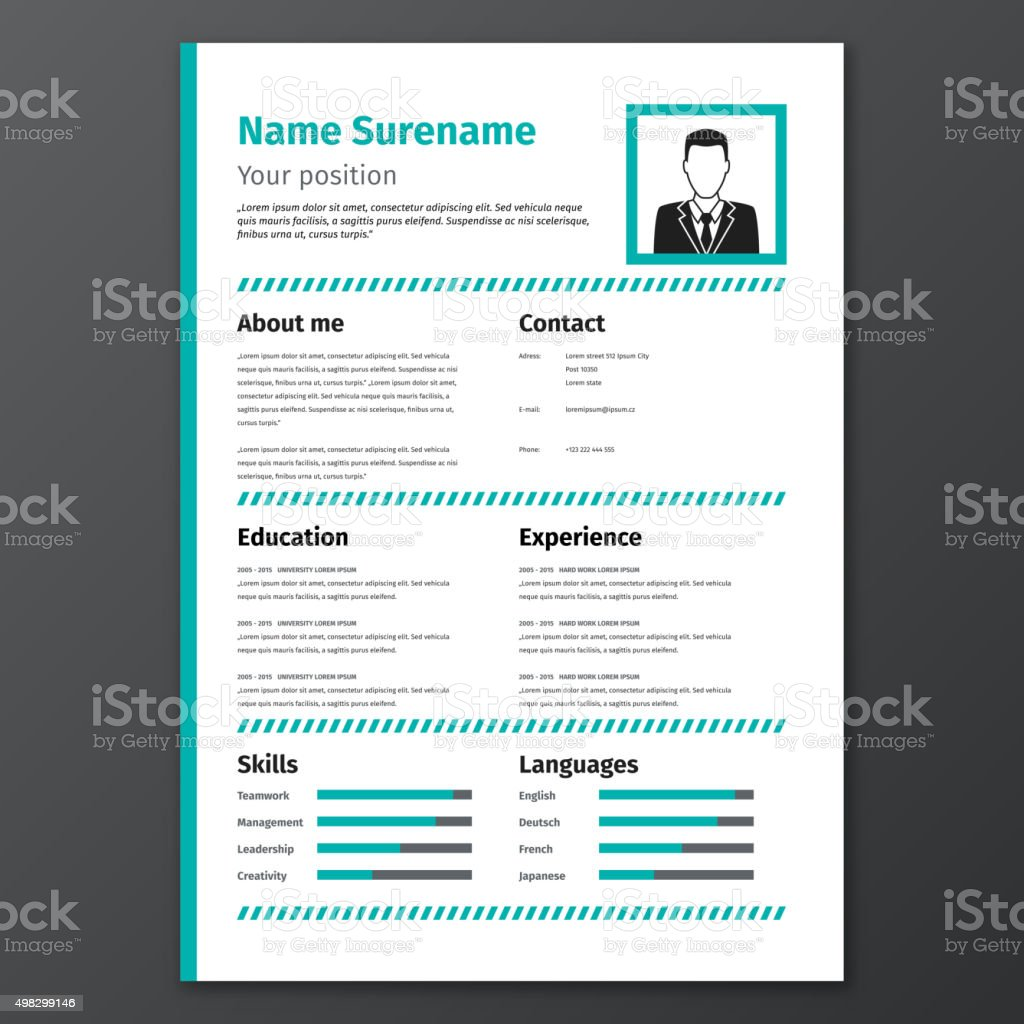 Graphic Resume Template Stock Illustration