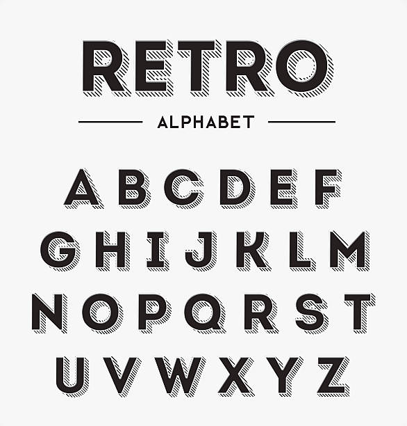 grafik im retro-buchstaben set - posterstile stock-grafiken, -clipart, -cartoons und -symbole