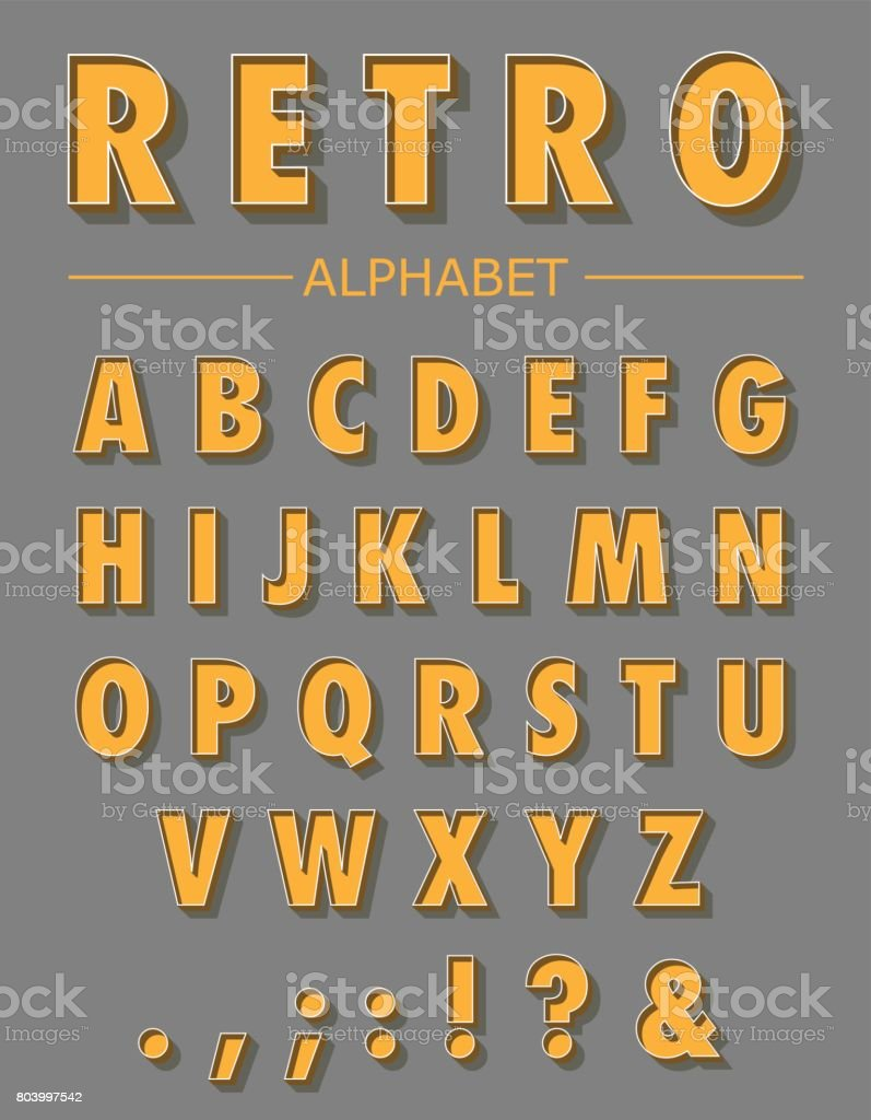 Graphic Retro Letters set vector art illustration