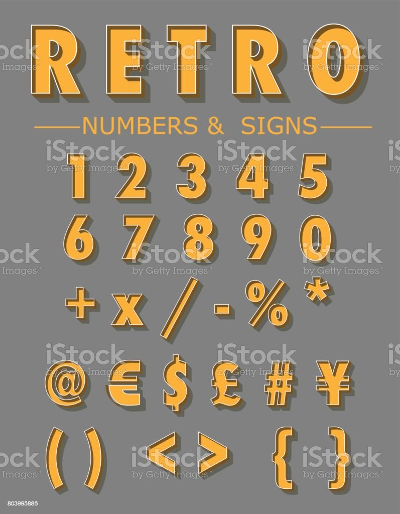 Graphic Retro Numbers and Signs set vector art illustration