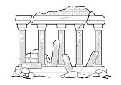 Graphic ruined ancient architecture