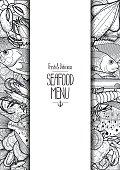 Graphic seafood menu design