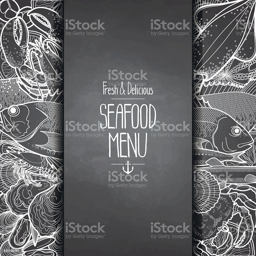 Graphic seafood menu design vector art illustration