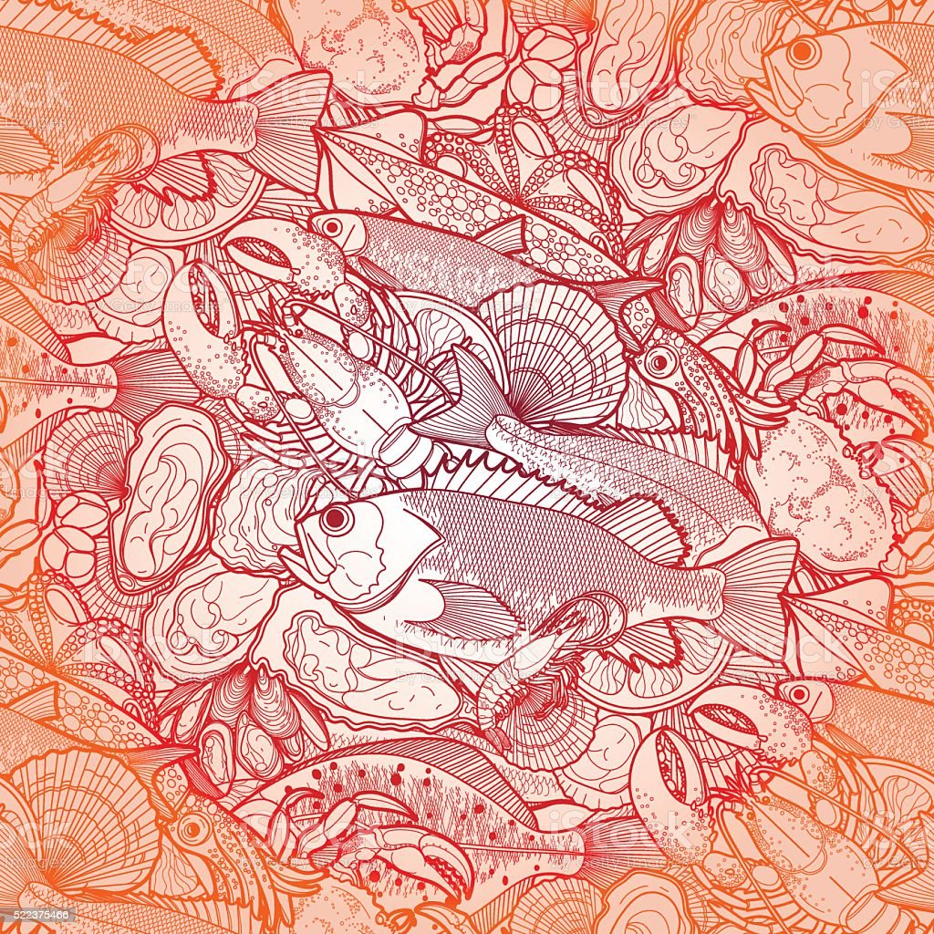 Graphic seafood pattern vector art illustration
