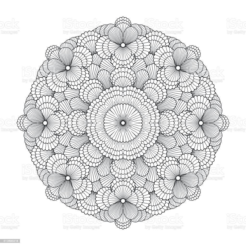 Graphic seashells circle ornament vector art illustration