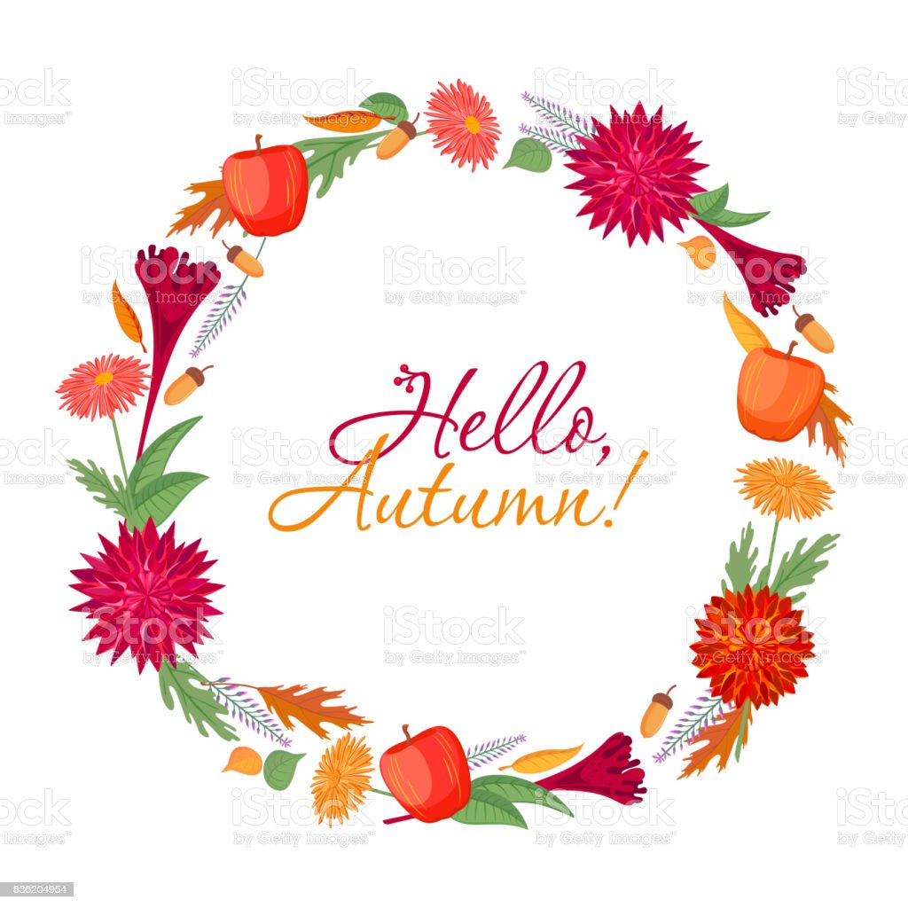 Grafikset Farbe Herbst Runden Rahmen Mit Blumen Pflanzen Früchte ...