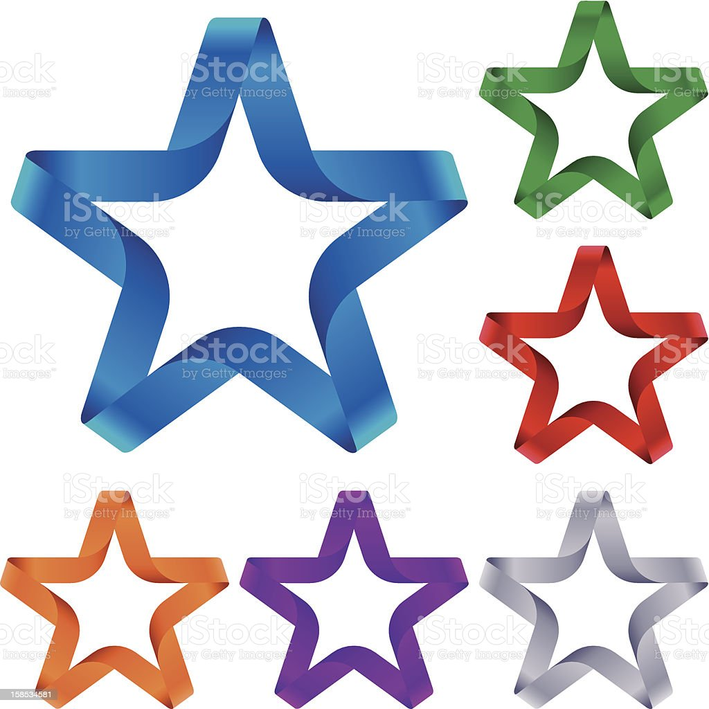 Graphic set of colored stars made of ribbon royalty-free graphic set of colored stars made of ribbon stock vector art & more images of blue