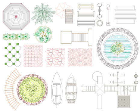Graphic set of recreation and landscape elements. Top view.