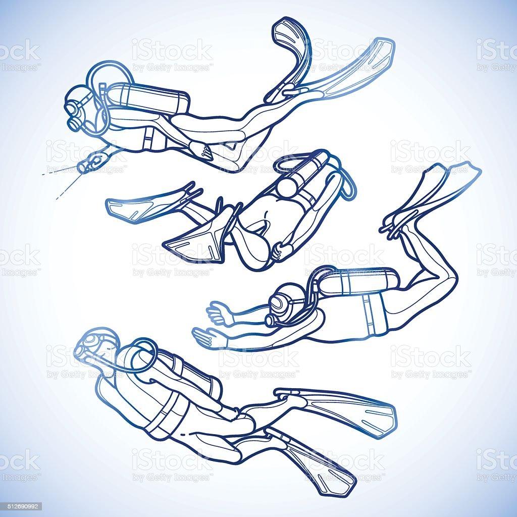 Graphic set of scuba divers vector art illustration