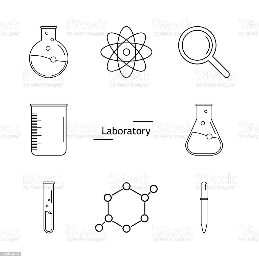 Graphic set science and chemical objects on white background. Ve vector art illustration