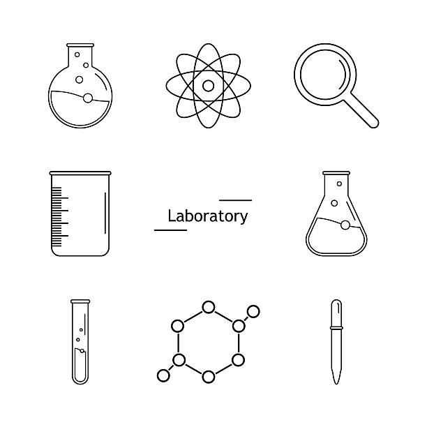 Graphic set science and chemical objects on white background. Ve Set of science icons. Chemical tools and utensils. Laboratory equipment. Chemical test tubes icons. Research and science. Vector Illustration, graphic elements for design. laboratory glassware stock illustrations