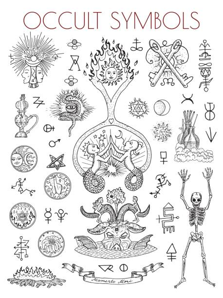 graphic set with esoteric symbols and illustrations - freemasons stock illustrations