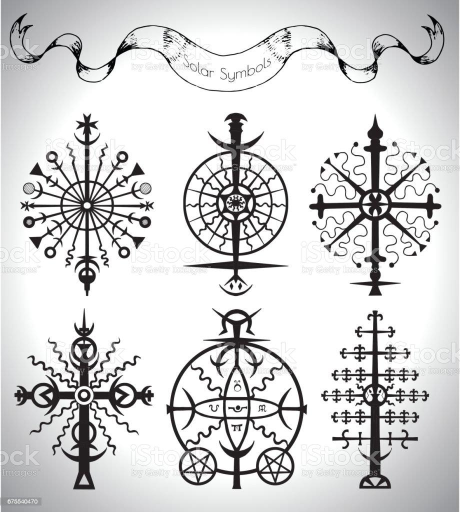 Güneş Mistik Semboller Ve Afiş Grafik Kümesi Stok Vektör Sanatı