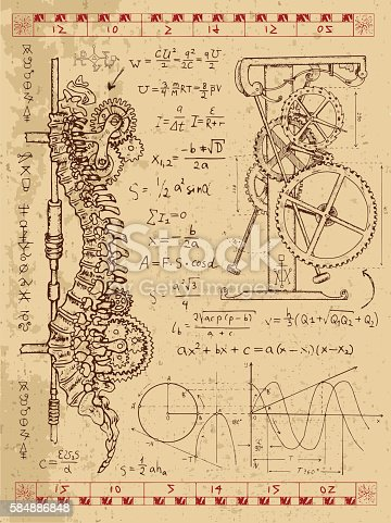 Graphic set with steam punk mechanism in human backbone, math formulas and retro machine. Hand drawn vintage illustration, sketch tattoo, old science background with mystic symbols