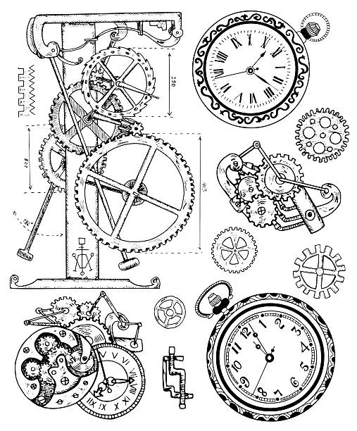 Graphic set with vintage clock mechanism in steampunk style vector art illustration