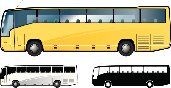 Graphic showing left sides of three buses
