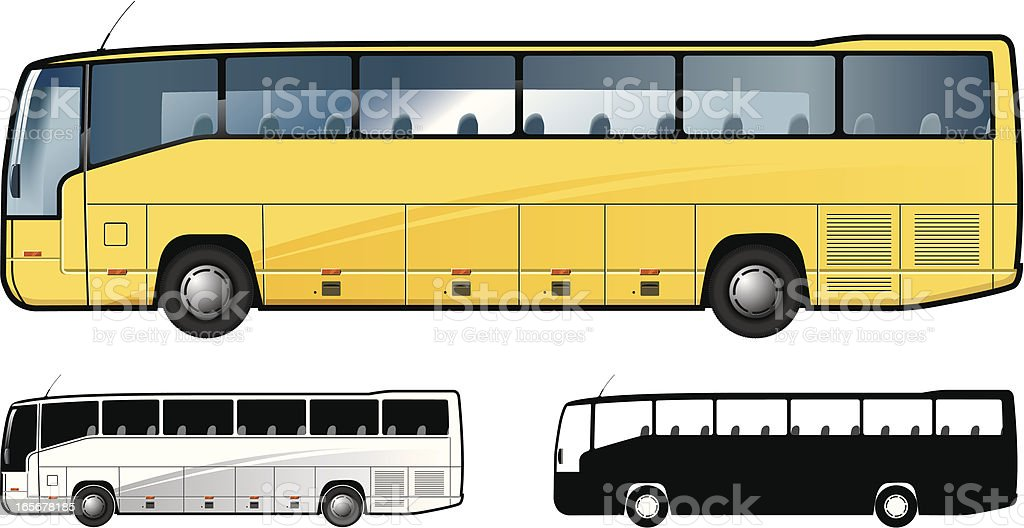 Graphic showing left sides of three buses vector art illustration
